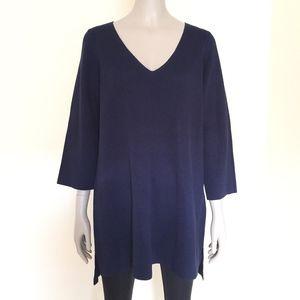 Eileen Fisher silk organic cotton V neck tunic top